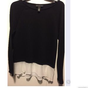 Sweater with bottom white layer